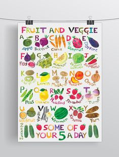 Fruitl Alphabet Poster size Printed on 250 gsm silk paper. Unframed Great for a childrens bedroom or nursery. Signed in Pencil Easy to frame and comes packed in a tube. Colours may vary from the photographs. 100th Day, Paper Cutting, Alphabet, A2 Size, Childrens Bedroom, Nursery, Colours, Fruit, Drawings