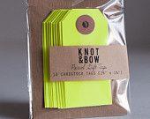 Knot and Bow - Geschenkanhänger, neon gelbt von Partyerie auf DaWanda.com