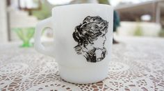 Vintage Gibson Girl Milkglass Cup by SycamoreVintage on Etsy, $19.99