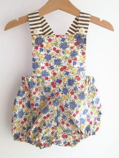 coral woodland friends vintage sunsuit. ORGANIC by pokettoclothing