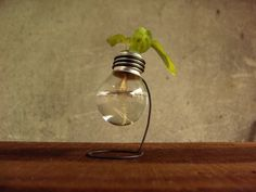 Mini recycled 25 watts light bulb vase wooden metal by Paladim