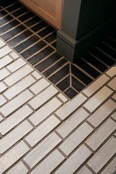 New Home Ideas Budget Remodeling Ideas: Black + White Tile Patterns Brick Tiles, Brick Flooring, Kitchen Flooring, Flooring Ideas, Floors, Kitchen Tile, Bathroom Flooring, Laminate Flooring, Black Subway Tiles