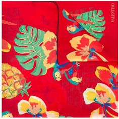 Valentino Garavani tropical print scarf ($575) ❤ liked on Polyvore featuring accessories, scarves, red, valentino scarves, colorful scarves, silk shawl, silk scarves and red scarves