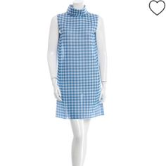 Celine Raw silk blue/grey shift dress. New! Celine shift dress in blue and gray gingham. Raw silk,  sleeveless with a funnel neck. There are so many ways to style this dress! Celine Dresses
