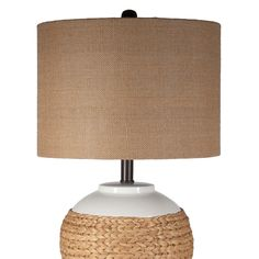 Rattan Wrapped White Ceramic Lamp by Stylecraft