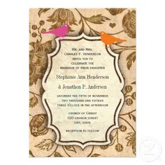Vintage Pink and Ornage Love Bird Pattern Wedding Personalized Invitations