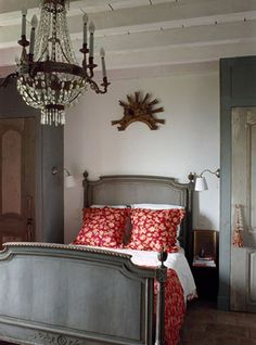 chandelier in class French bedroom. A crystal chandelier is a lot of bang for the buck. Beautiful Bedrooms, Beautiful Interiors, French Interiors, Home Bedroom, Bedroom Decor, Master Bedroom, Design Bedroom, Bedroom Ideas, Swedish Interior Design