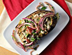 Falafel-Stuffed Eggplant with Tahini Sauce and Tomato Relish | 19 Deliciously Stuffed Vegetables