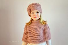 2 PATTERNS Amazing crochet hat beanie with rose & capelet cape poncho Pattern for baby, toddler, girls and woman by tvorIvka on Etsy https://www.etsy.com/listing/179399343/2-patterns-amazing-crochet-hat-beanie