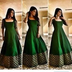 Indian gowns dresses - Keep calm and go green💚 Dress Earrings vogue store Choli Dress, Saree Gown, Half Saree Designs, Lehenga Designs, Indian Gowns Dresses, Pakistani Dresses, Dresses Dresses, Pakistani Bridal, Long Gown Dress