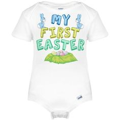 Cute blue Easter onesie for a little boy to wear on his first Easter. My First Easter in pretty pastels letters above eggs and below pretty blue bunnies for your baby boy's 1st Easter.