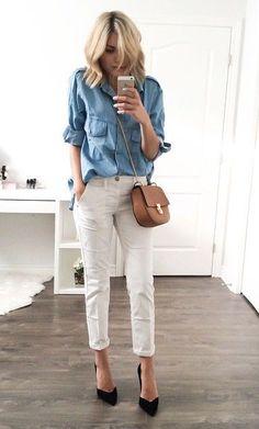 chambray shirt. white trousers.