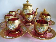 VINTAGE CZECH/BOHEMIAN tea-set SERVICE 7 persons PINK GLASS HAND-PAINTED FLOWERS