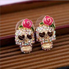 2015 New !! Fashion Fine Jewelry Romantic Cute Crystal Rhinestone Gold plated Rose Love Heart Skull Stud Earrings For Women E-92