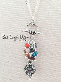 Antique Pewter Filigree Multi-Color Glass Beaded Dangle Necklace