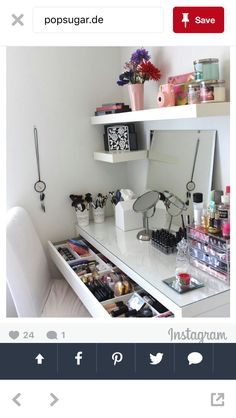 Vanity Trays Click Pic for 17 DIY Makeup Storage and Organization Ideas Easy Org. Vanity Trays Click Pic for 17 DIY Makeup Storage and Organization Ideas Easy Organization Ideas for Bedrooms Make Up Storage, Storage Ideas, Diy Storage, Storage Hacks, Storage Shelves, Storage Cart, Closet Shelves, Shelving Ideas, Storage Containers