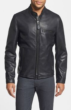Schott NYC 'Café Racer' Slim Fit Waxy Leather Moto Jacket available at #Nordstrom
