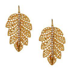 "Marika """"Demeter"""" Diamond Leaf Earrings (€1.445) ❤ liked on Polyvore featuring jewelry, earrings, accessories, earring jewelry, sparkle jewelry, leaves jewelry, leaves earrings and 14k diamond earrings"