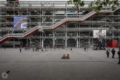 Paris (France). The façade of the Centre George Pompidou (Beaubourg) with its characteristic staircase, which looks like a chart (but maybe it's just my mathematic mind!)