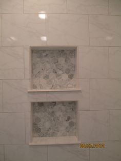 White Shower Tile Shampoo Box Shower Niche With Mosaic