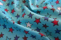 Reststück laminierte Baumwolle Wachstuch Stars Sterne  türkis bunt J.Swafing