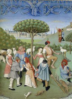 La danse sur l'herbe, Roman d'Athis et Prophilias ou le Siège d'Athènes, début du XVe siècle