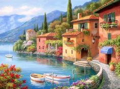 Villagio Dal Lago - lakes, attractions in dreams, paintings, villages, colors, boats, trees, nature, architecture, landscapes, beautiful, country, love four seasons
