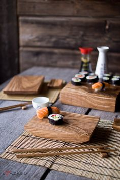hand-crafted ash wood sushi dining set