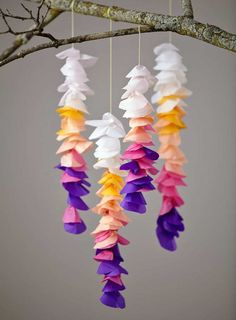 Tissue Paper Wisteria by Honest to Nod Paper Crafts For Kids, Crafts To Make, Fun Crafts, Gold Diy, Tissue Paper Crafts, Diy Papier, Shop Layout, Wisteria, Papercraft