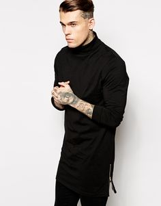Longline Long Sleeve T-Shirt With Roll Neck And Side Zips
