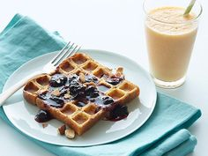 Waffled Blueberry French Toast with a Carrot-Ginger Smoothie Recipe : Food Network Kitchen : Food Network - FoodNetwork.com