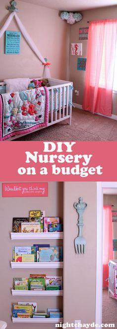 Nursery on a budget, nursery, babies, planning for parenthood, Ariel Nursery, Under the Sea Nursery, Disney, Disney Nursery, DIY Rain Gutter shelves, rain gutter shelves, DIY Nursery wall decor,