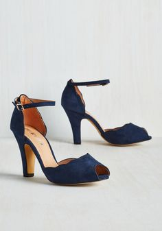 Scallop Your Alley Heel in Navy. Its about time that a pair of pumps caters to your specific and sophisticated taste - and these sultry heels from Chelsea Crew truly deliver. #blue #modcloth