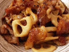 ご飯がススム♡豚バラとレンコンの甘酢炒めの画像 Stove Top Recipes, Pork Recipes, Asian Recipes, Cooking Recipes, Healthy Recipes, Ethnic Recipes, Japanese Dishes, Japanese Food, Quick Meals