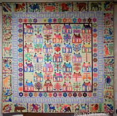 Village by Karin Crawford, quilted by Kim Peterson, made entirely of Kaffe Fassett fabric