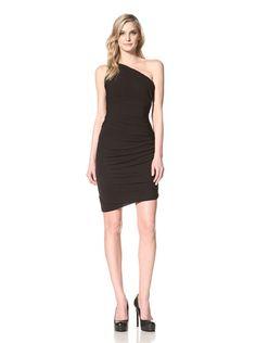 71% OFF HALSTON HERITAGE Women\'s Ruched One-Shoulder Dress (Black)
