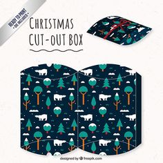 Christmas box with trees and polar bears I Free Vector Christmas Love, Christmas Wrapping, Christmas Crafts, Xmas, Diy Gift Box, Gift Tags, Paper Toys, Paper Crafts, Printable Box