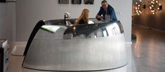 Jet Engine Cowling Reception Desk Aviation Furniture, Aviation Decor, Art Furniture, Furniture Design, Used Aircraft, Aircraft Engine, Jet Engine, Reception Areas, Airplane Seats