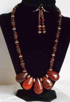 GORGEOUS FLAME JASPER TEARDROPS BIB STYLE NECKLACE AND EARRINGS #Handmade