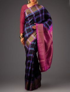 Pink-Black Kanchipuram Silk Saree