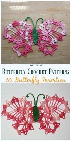 Next Previous Butterfly Insertion Free Crochet Sample – Free Patterns Next Previous Crochet Butterfly Free Pattern, Crochet Puff Flower, Crochet Dollies, Crochet Flower Patterns, Crochet Stitches Patterns, Thread Crochet, Crochet Motif, Irish Crochet, Crochet Crafts