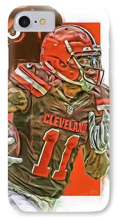 Terrelle Pryor IPhone 7 Case featuring the mixed media Terrelle Pryor Cleveland Browns Oil Art by Joe Hamilton