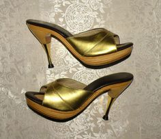 Vintage 1950's Polly High Heels - HOLLYWOOD GOLD - Dead Stock Pin Up Girl Burlesque Metal Spike Mules  NEEEEEED