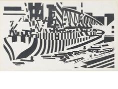 Edward Wadsworth (British, 1889-1949) Dazzled Ship in Drydock The rare woodcut, 1918, on wove, with margins, 128 x 218mm (5 x 8 1/2in)(B)