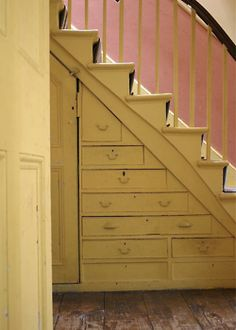 Built in storage under stairs. Now I just need to get me some stairs! Staircase Storage, Stair Storage, Built In Storage, Staircase Drawers, Extra Storage, Staircase Design, Closet Storage, Storage Drawers, Up House