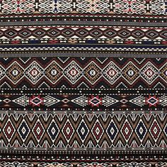 "Half Yard Red Deep Navy Blue Aztec Stripe Ponte De Roma Knit Fabric - On trend Aztec ethnic inspired print in colors of red, deep navy blue, taupe brown, and black on a super soft Ponte De Roma knit. Ponte de Roma fabric is a thicker medium weight and has a nice stretch, excellent drape, and great recovery. Fabric has a subtle horizontal texture. Amazing designer fabric great for maxi skirts, dresses, tops, and more! Pattern repeat is 27 1/2"". :: $4.00"