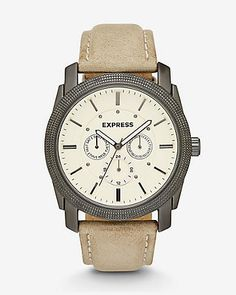 express view · rivington multi-function watch- tan leather