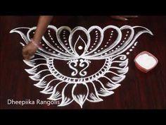 varalakshmi vratham special kalasam muggulu l friday lotus kolam design l easy rangoli Indian Rangoli Designs, Rangoli Border Designs, Small Rangoli Design, Colorful Rangoli Designs, Rangoli Designs Images, Beautiful Rangoli Designs, Mehandi Designs, Mandala Design, Rangoli Borders