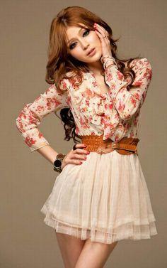 417b0f7493d0 New Korean Chiffon Summer Sweety Womens Floral Long Sleeve Top Tulle Mini  Dress
