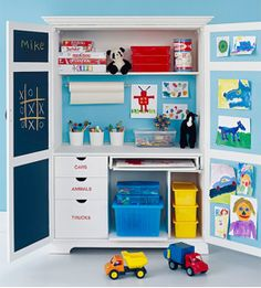 Reduce, Reuse, Recycle!!! Repurpose an old computer armoire into an art cabinet for your little ones, so you can easily hide all those random items into one organized home. #LoveIt